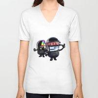 minions V-neck T-shirts featuring Daft Minion by Harry Martin