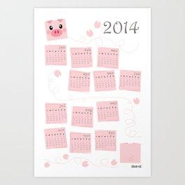 Piggy Delight 2014 Calendar Art Print