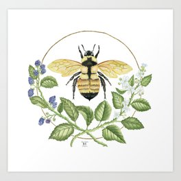 Bombus & Blackberries Art Print