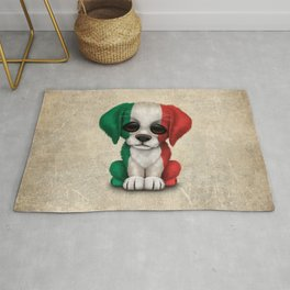 Cute Puppy Dog with flag of Italy Rug