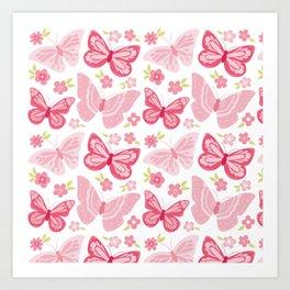 Beautiful Modern Butterfly Pattern Art Print