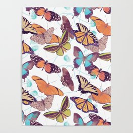 seamless pattern with  butterflies Poster