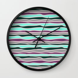 Geometrical mauve violet teal gray forest green stripes Wall Clock