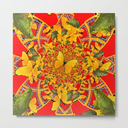 GREEN FROGS & BUTTERFLY RED MANDALA Metal Print