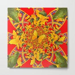 GREEN FROGS & BUTTERFLY RED MANDALA Metal Print