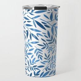 Blue leaf pattern Travel Mug