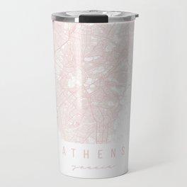 Athens Greece Light Pink Minimal Street Map Travel Mug
