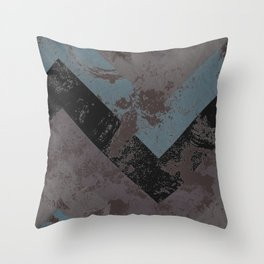 Abstract Zig Zag Soft Mauve, Blue and Black Throw Pillow