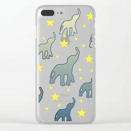 Blue Elephants Stars Pattern Clear iPhone Case