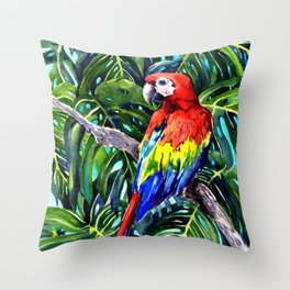 Scarlet Macaw in Rainforest Throw Pillow