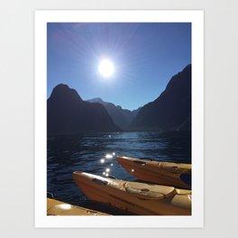 Kayaking in Milford Art Print