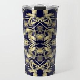 dark blue Digital pattern with circles and fractals artfully colored design for house and fashion Travel Mug