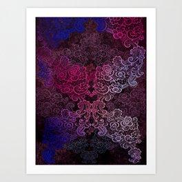 lace cascade pink Art Print