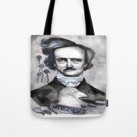 edgar allan poe Tote Bags featuring Edgar Allan Poe by JsuauG