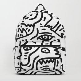 The Boy and The Magic Goat Street Art Black and White Backpack