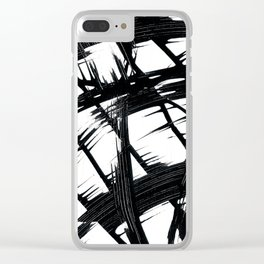 Whipped Into Motion Black On White Clear iPhone Case