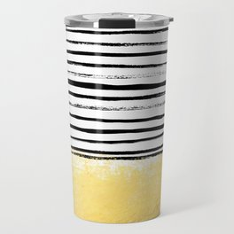 Blaire - Brushed Gold Stripes - black and gold, gold trend, gold phone case, gold cell case Travel Mug