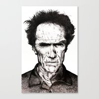 clint eastwood Canvas Prints featuring Clint Eastwood by Danielle Ross