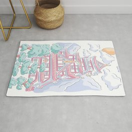 Japanese temple - drawing Rug