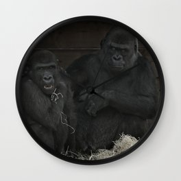 Gorilla Mother Has Her Cheeky Son By The Scruff Of His Neck Wall Clock