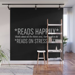 Reads Happily - Black Wall Mural