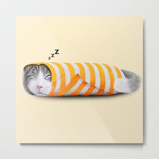 Cat in the paper Metal Print