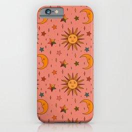 Folk Moon and Star Print iPhone Case