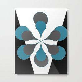 Mid-Century Modern Art 1.4B Grey Aqua Flower Metal Print