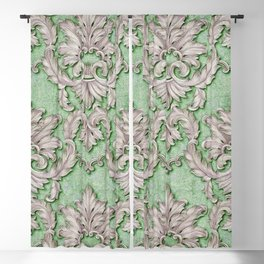 Pink Green Paisley Floral Blackout Curtain