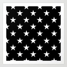 Stars (White/Black) Art Print