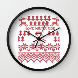 I love winter ride Wall Clock