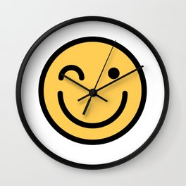 Smiley Face   Squinting Big Smiling Happy Smileys Wall Clock