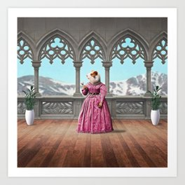 Henrietta Hamster at the Mountain Retreat Art Print