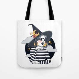Moon and Star gazing Witch Tote Bag