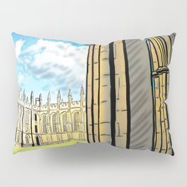 Gothic Architecture with Peaceful Yard in Oxford UK Pillow Sham