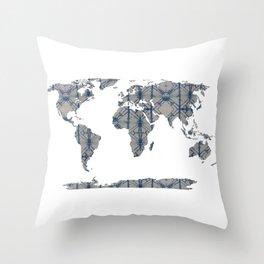Shibori Map Of World 12 Throw Pillow
