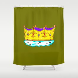 A Royal Crown with a Green Background Shower Curtain