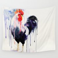 rooster Wall Tapestries featuring Rooster  by Slaveika Aladjova