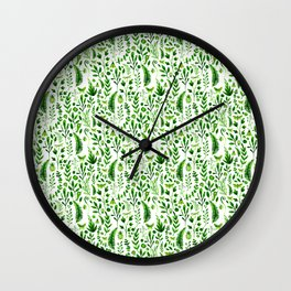Flora and Fauna seamless pattern Wall Clock