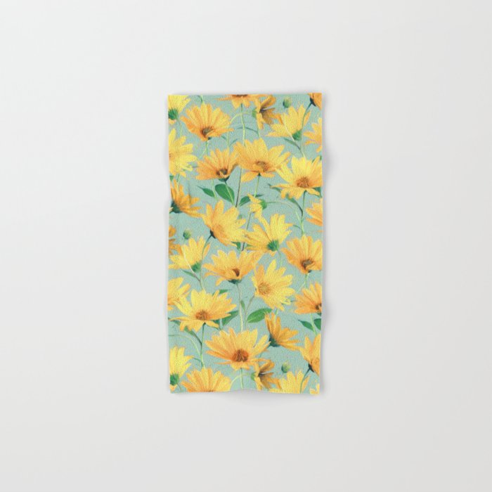 Painted Golden Yellow Daisies On Soft Sage Green Hand Bath Towel