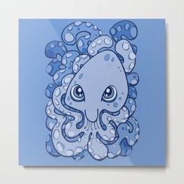 Happy Octopus Squid Kraken Cthulhu Sea Creature - Baby Blue Metal Print