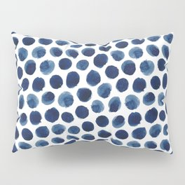 Large Indigo/Blue Watercolor Polka Dot Pattern Pillow Sham