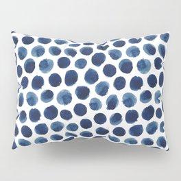 Large Indigo/Blue Watercolor Polka Dot Pattern Pillow Sham