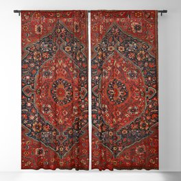 Persian Joshan Old Century Authentic Colorful Red Rusty Blue Vintage Rug Pattern Blackout Curtain