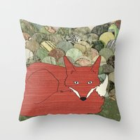 mr fox Throw Pillows featuring Mr. Fox by Elephant Trunk Studio