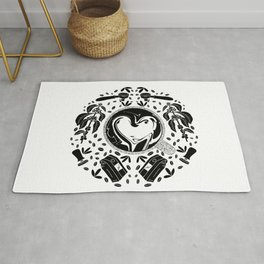 Coffee Lovers Black and White // Plant to Cup// Espresso Addict // Barista Illustration Rug