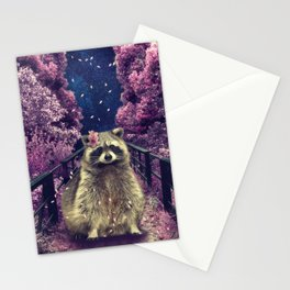 Cherry raccoon Stationery Cards