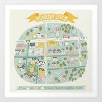 the neighbourhood Art Prints featuring Neighbourhood Map by Jacqui Lee