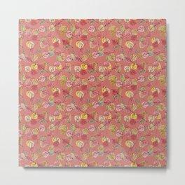 Ash Rose Falling Leaves in Winter Color Trends Metal Print