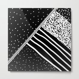 Geometrical black white watercolor polka dots stripes Metal Print
